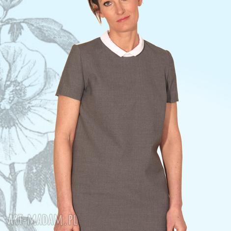 sukienka graya, elegancka, prosta, kołnierzyk, kieszenie, mini