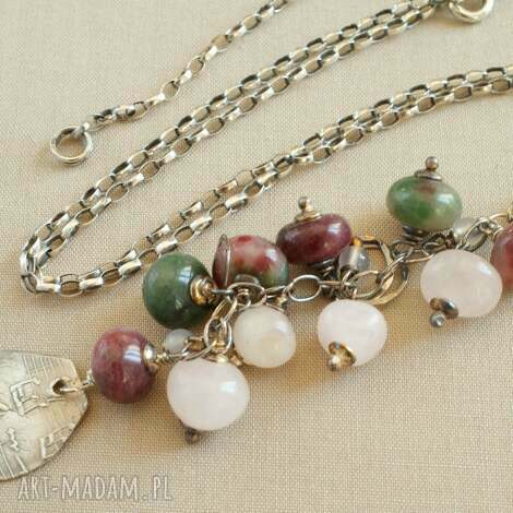 naszyjnik ze srebra i turmalinu - kobiecy, delikatny, oksydowany, pastelowy