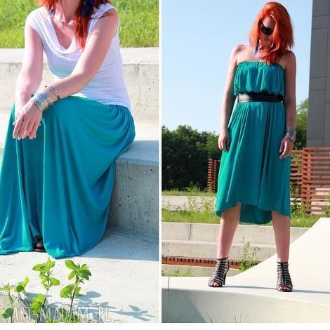 spódnica /sukienka długa maxi letnia zwiewna morska, spódnica, wiskoza, lejąca