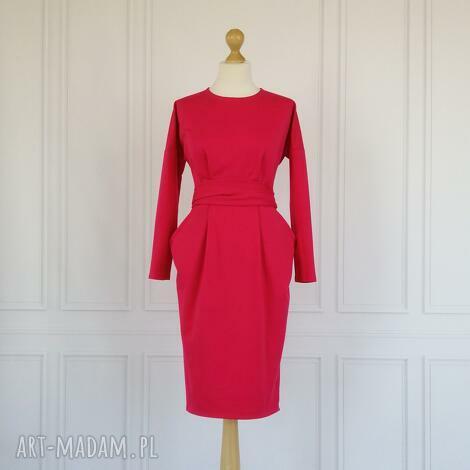 sukienki ida sukienka z kieszeniami, fuksja, rozmiar 34, sukienka, kieszenie