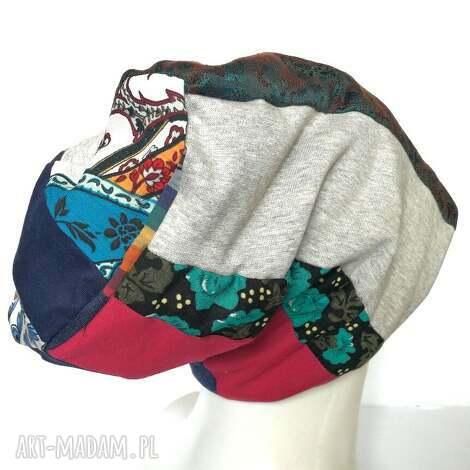 czapka szyta patchworkowa kolorowa na podszewce - czapka, etno, boho, paski, retro