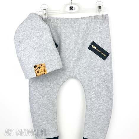 komplet spodnie buggy i ciepła czapeczka szary 92 - spodnie, buggy, komplet, zestaw