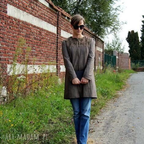 krotki plaszcz do kolan z tweedu - krotki, tweed, plaszcz, kobieta, prosty, elegancki