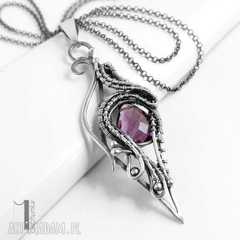 squamis srebrny naszyjnik z ametystem ametyst wire wrapping, prezent
