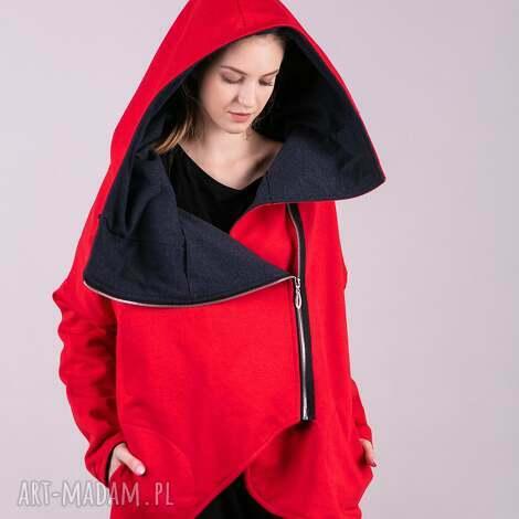 kurtka damska na zamek czerwona - kurtki, bluzki, sukienki, bluzy, spodnie, kardigan