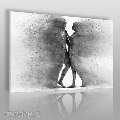 obraz na płótnie - para sylwetki postacie czarno-biały 120x80 cm 38404
