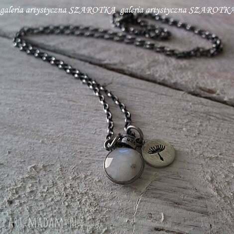 make a wish minimalistyczny naszyjnik z kamienia księżycowego i srebra