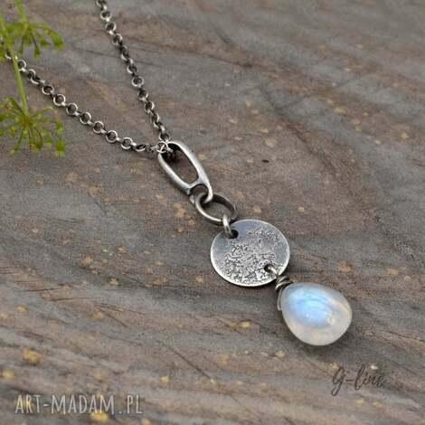 kamień księżycowy surowa srebrna zawieszka - zawieszka, srebro, kamień