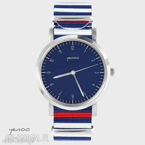 zegarek, bransoletka - simple elegance, granatowy paski, nato