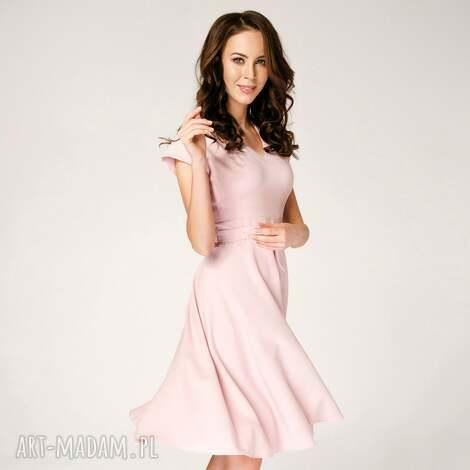 sukienka rozkloszowana felicia różowa roz 34 36 38 40 - rozkloszowana, koktajlowa