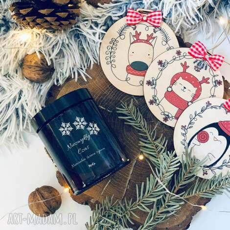 dekoracje zestaw prezentowy - wyjątkowy prezent niezwykły czas, świeca sojowa