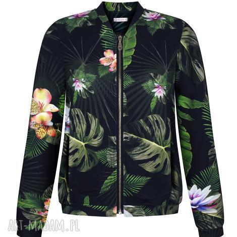 bluzy damska bluza bomberka czarna w liście i kwiaty na zamek, dzianinowa