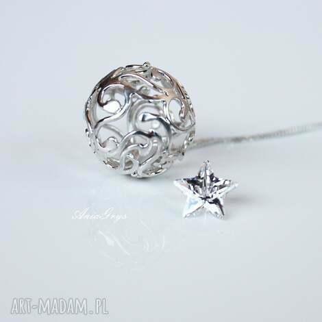 gwiazdka, kula, srebro, wisiorek, ażur, delikatny, gwiazdoo biżuteria