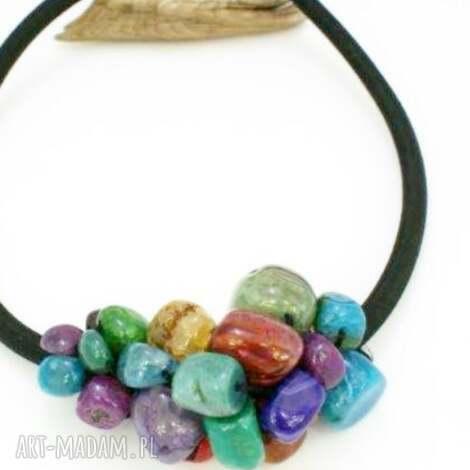 naszyjnik kolorowy agat - naszyjnik, agat, kolorowy, splecione, kamienie, minerały
