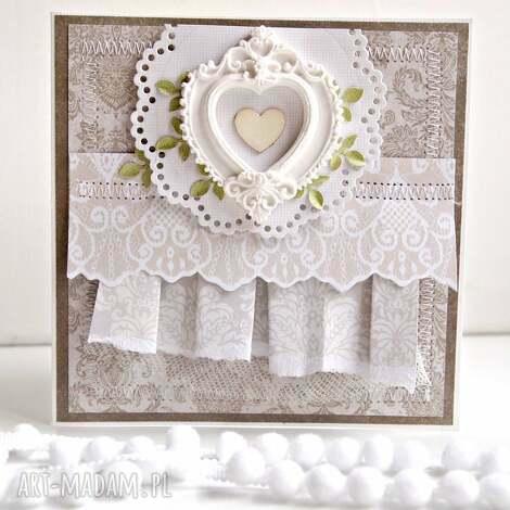 kartka z sercem - kartka, ślub, ślubna, prezent, życzenia, scrapbooking