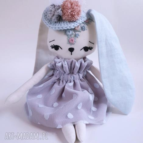 maskotki lalka królik dobrusia, królik, zajączek, przytulanka, lalka, eko, haft