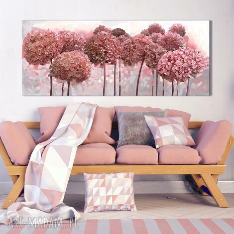 obraz drukowany na płótnie kwiaty hortensji ogrodowej w różu-format 150x60cm