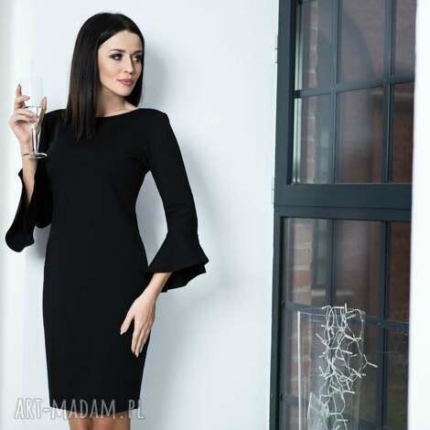 sukienka t161 z falbanką u rękawów, czarna, sukienka, elegancka, kobieca, przyjęcia