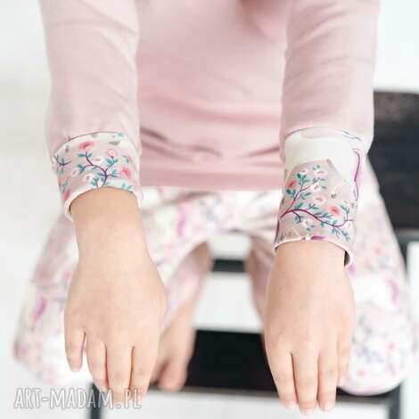 bluza dla dziecka z komino-kapturem jednorożce w kwiatach, kominem