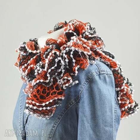 fantazyjny szal - pomarańcz z brązem - pomarańczowy, stylowy, ciekawy