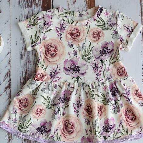 sukieneczka w motylki dla dziewczynki rozm 74, na lato, sukienka