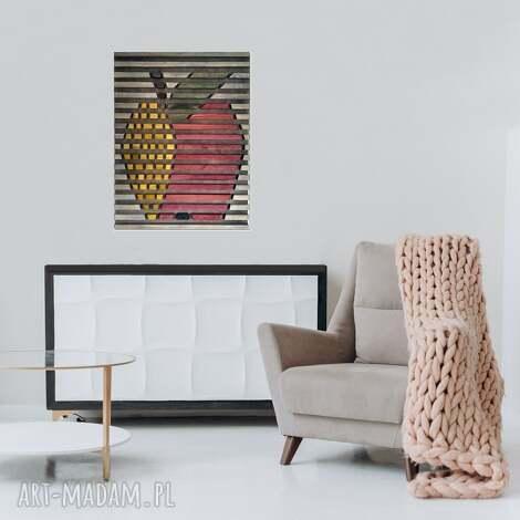 obraz z drewna, dekoracja ścienna /55- jabłko/, obraz, drewniany