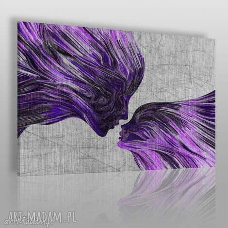 obraz na płótnie - twarze pocałunek fiolet 120x80 cm 13506 , twarze, abstrakcja