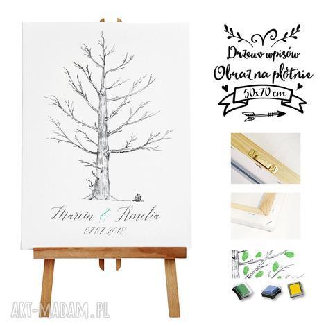 obraz ala księga gości - artystyczne drzewo wpisów 50x70 cm, gości, ślub