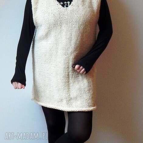 sukienka-tunika-długi sweter, tunika, sukienka, jesień, ecru, wiosna