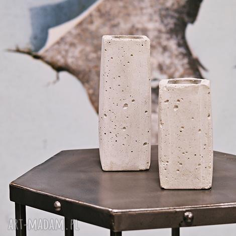 zestaw dwóch świeczników betonowych, betonowe, betonowy, świecznik, tealight