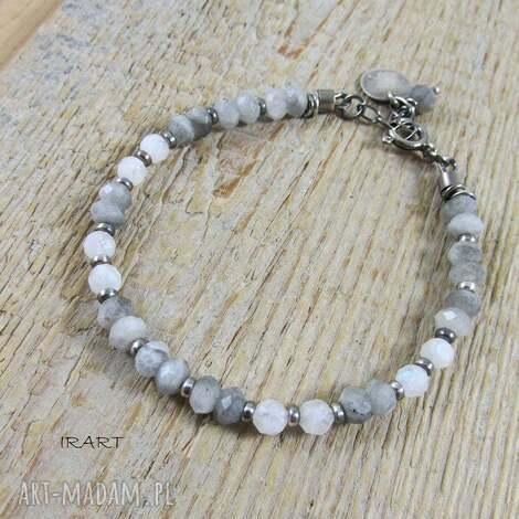 labradoryt z kamieniem księżycowym - 455, labradoryt, srebro, kamień księżycowy