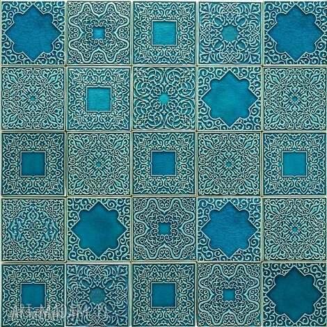 ceramika kafle arabeski zestaw ornamentów w kolorze turkus no 2, kafle, dekory