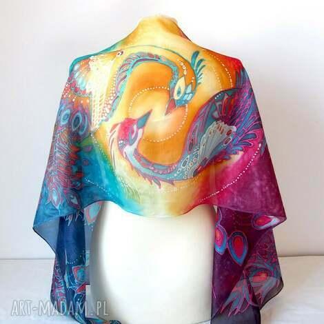szal jedwabny fenix - ognisty ptak, feniks magiczny, malowany
