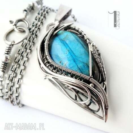 taivas i - srebrny naszyjnik z labradorytem - wirewrapping, labradoryt, niebieski, 925