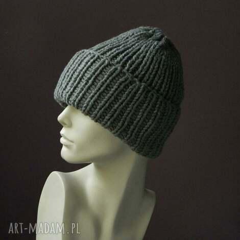 czapki unisex szara wywijana czapa 50 wełny, wywijana, ciepła, regulowana, mankiet