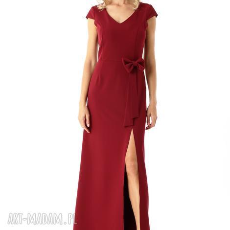 długa prosta sukienka hellen bordowa, sukienka, wieczorowa