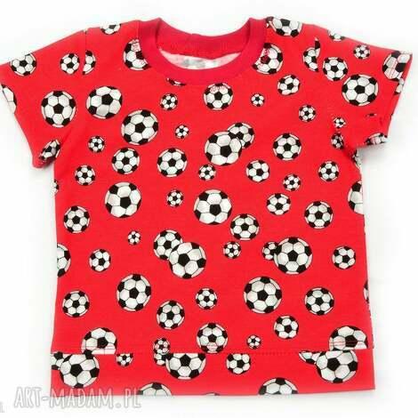 piŁki czerwona koszulka bawełniana dla chłopca, 68-122, t shirt, w piłki