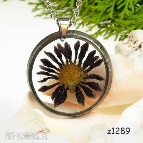 naszyjnik z prawdziwym kwiatem z1289 - naszyjnik z kwiatem, biżuteria z żywicy, z