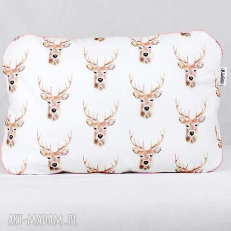 płaska poduszka do łóżeczka jelenie crem - poduszka, płaska, niemowlak