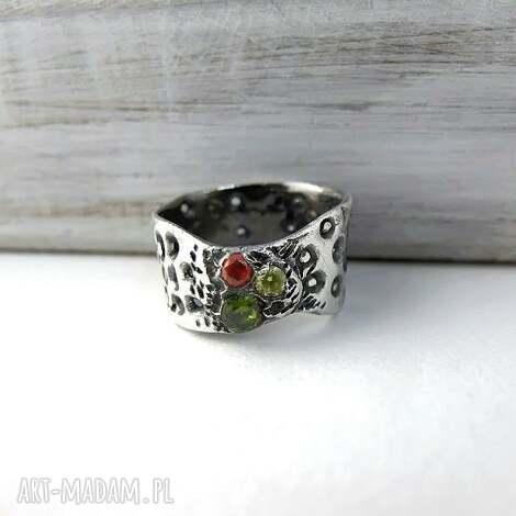 pierścionek art clay silver, cyrkonie, szeroka obrączka, masywny pierścionek