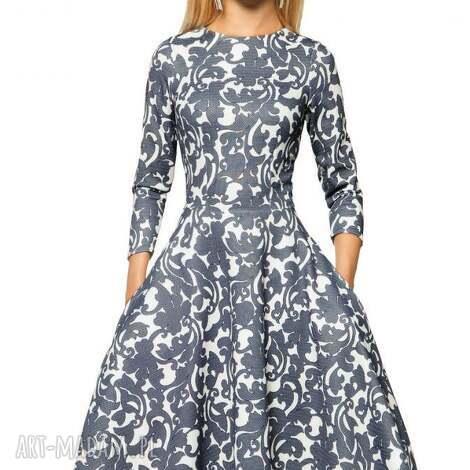 sukienka star 3/4 midi klaudia granat, sukienka, koło, midi, kieszenie, rozkloszowana