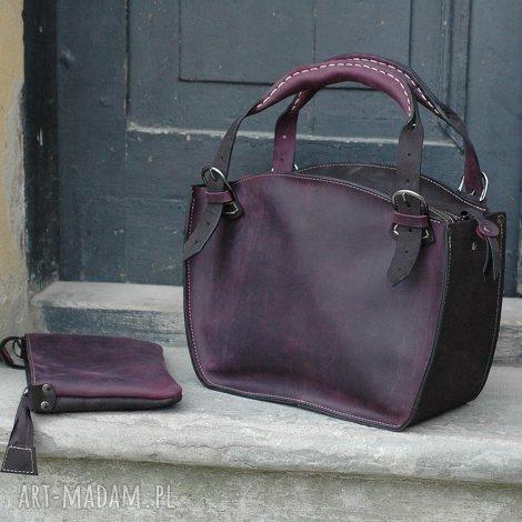 torebka skórzana ręcznie wykonana fioletowa kuferek z naturalnej skóry ladybuq
