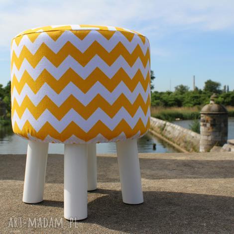 pufa żółty zygzak białe nogi - 36 cm, puf, pufa, stołek, siedzisko, taboret