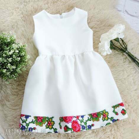 biała sukienka góralska folkowa dziecięca - sukienka, góralska