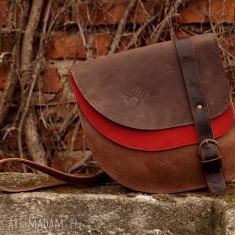 a60cbb8ef99f0 aria torebka skórzana brąz czerwień, skóra, naturalna, asymetryczna,  czerwień