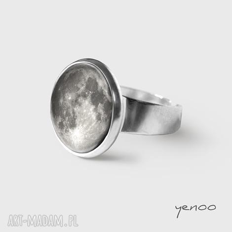 pierścionki pierścionek - księżyc, pierścionek, grafika, kosmos, unikatowy