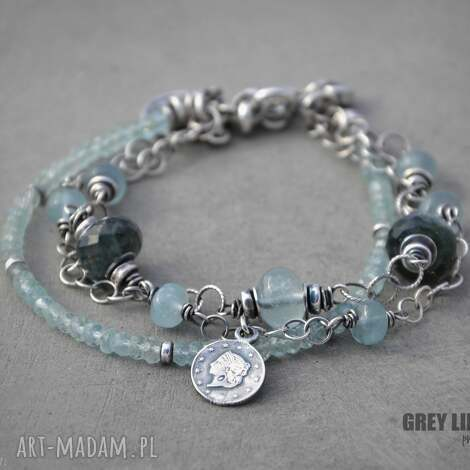 akwamaryn bransoletka srebrna, srebro, akwamaryn, minerały bransoletki biżuteria