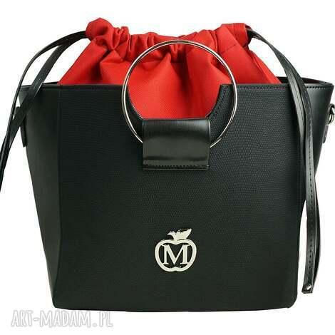 torebka manzana z kółkiem i ściąganym workiem czarna- czerwony środek