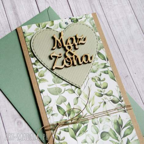 kartki kartka ślubna - zieleń mąż żona, ślub, ślubna