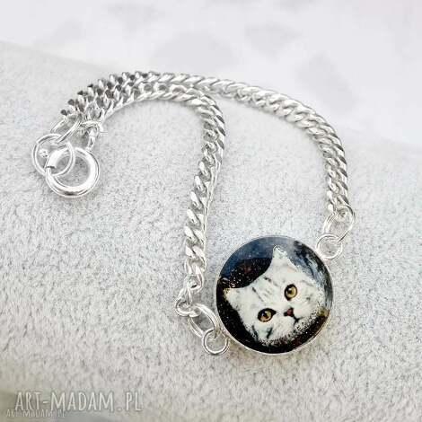 srebrna bransoletka z kotem, bransoletka, srebro, kotek, biżuteria